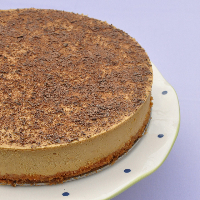 Tiramisu cheesecake made with Kahlua and Baileys