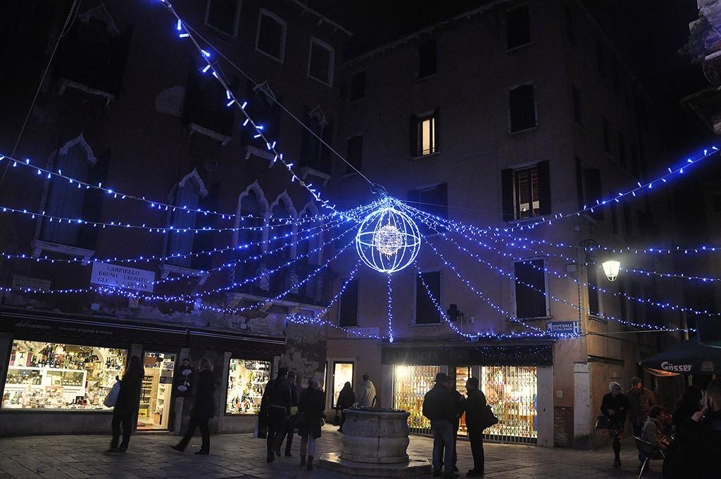 Venice Carnival lights at night