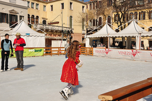 Ice Skating rink in Campo San Polo Venice
