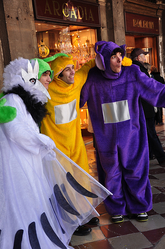 Tellytubby Costumes for Carnival in Venice