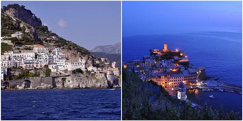 Shores of Positano and Vernazza in the Cinque Terre