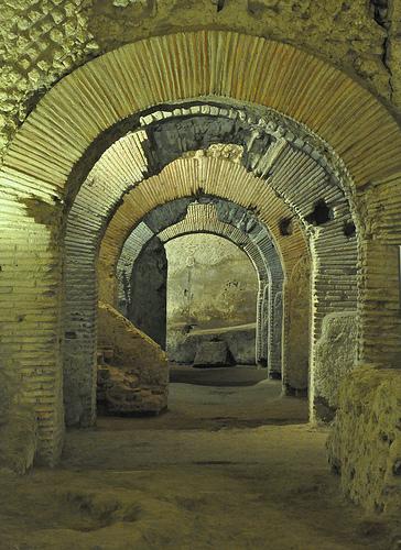 Ruins of a Roman Market under Rome's Basilica San Lorenzo Maggiore