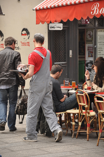 Waiting tables at a Cafe in Paris