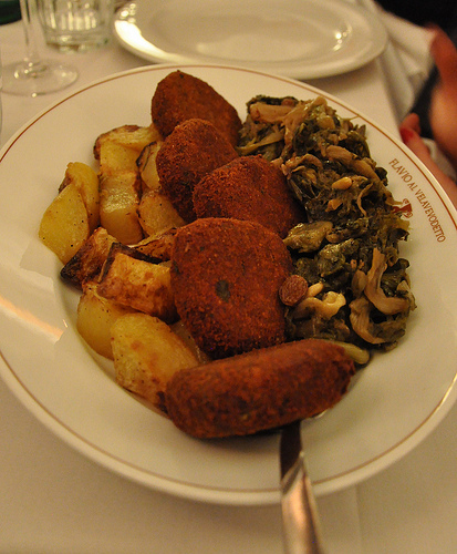 Polpette di Bolitto with seasonal vegetables in Rome