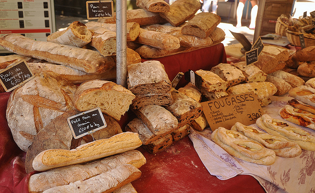 French bread at the market