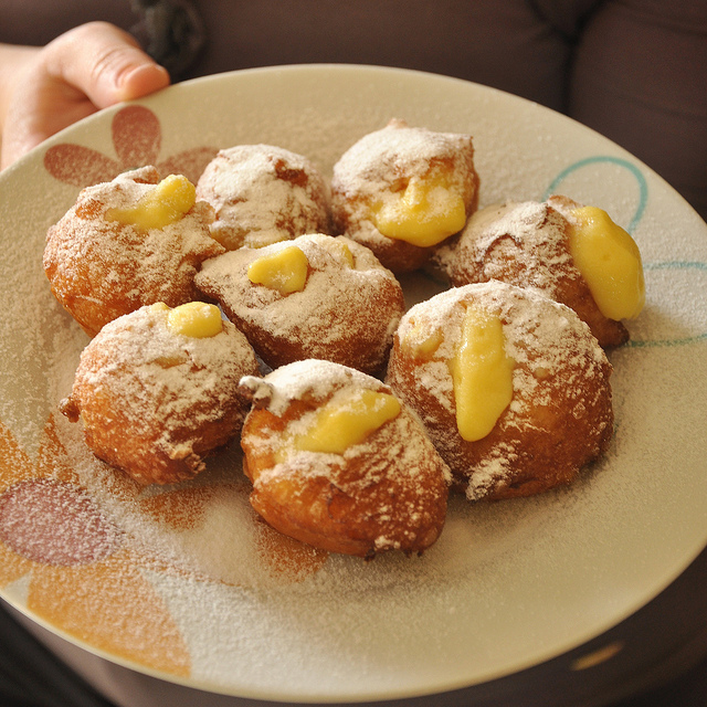 Venetian Carnival Fritters filled with pastry cream