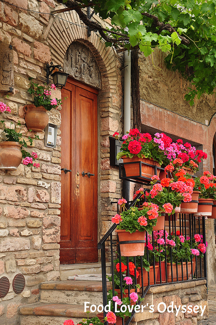 Flower-boxed staircase in Assisi