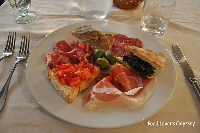 Antipasti platter in Umbria