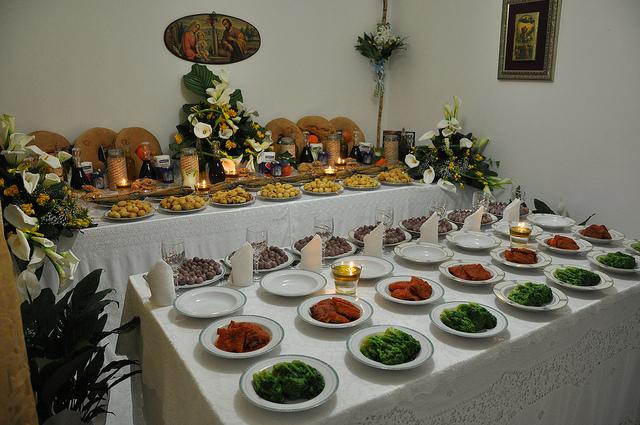 Table of St. Joseph celebration in Puglia