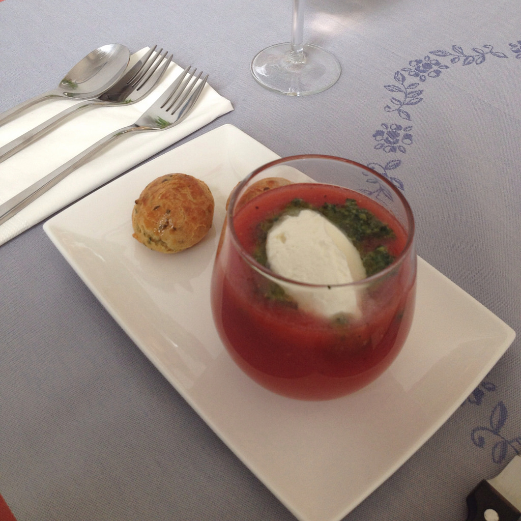 cold-tomato-soup-with-pistou-chevre-frais-and-gougeres