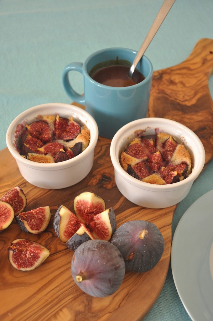 Baked Fig Dessert with almond cream and salted butter caramel sauce