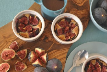 figs baked in Almond Cream with Salted Butter Caramel Sauce