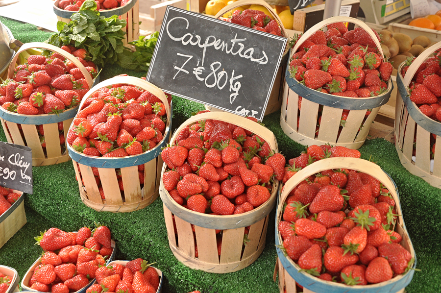 Carpentras Strawberries at the Market in Provence