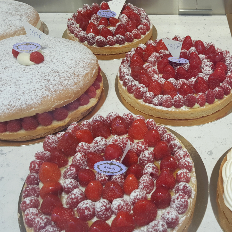 Strawberry Tarts in French Pastry Windows in Provence